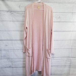 Pink duster cardigan